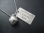 STRONGER EVERY DAY KETTLE BELL WORKOUT Necklace - Nickel Silver hand hammered pendant and Pewter charm priced with Stainless Steel Ball Chain