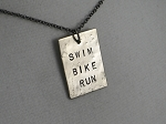 SWIM BIKE RUN TRIATHLON Necklace - 3/4 x 1 inch Hand Hammered Nickel Silver Pendant priced with Gunmetal Chain