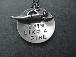 SWIM LIKE A GIRL LARGE DOUBLE PENDANT - Nickel and Pewter pendants with Gunmetal Chain