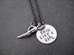 SWIM LIKE A GIRL 2 CHARM PENDANT Necklace - Nickel and Pewter pendants with Gunmetal Chain