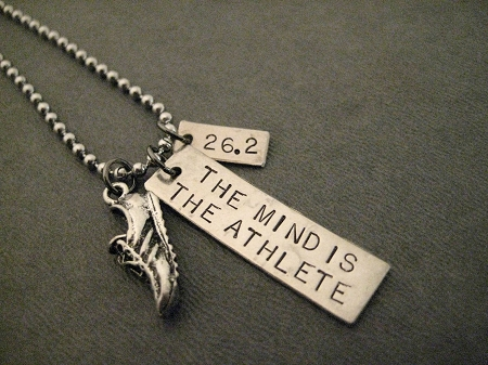 051a40b785597 THE MIND IS THE ATHLETE Necklace - Zap Fitness Motto - Necklace / Bracelet  / Key Chain - Pewter Running Shoe plus 3/8 x 1 1/4 inch Hand Hammered ...