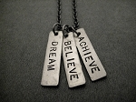 DREAM BELIEVE ACHIEVE Necklace - Nickel pendants priced with Gunmetal chain