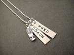 Celebrate Your Race Sterling Silver Necklace - RUN CHARM with 2 CUSTOM Pendants - Choose Running Girl, 3 D Running Shoe, Flat Shoe Print Charm or 13.1 or 26.2 Flat Shoe Print Charm - Choose Your Chain