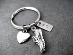 LOVE TO RUN XC Key Chain /  Bag Tag - Pewter Heart, Pewter Running Shoe Charm, Hand Stamped Nickel Silver Pendant - Choose 4 inch Ball Chain or Round Key Ring - Choose to add a Track DISTANCE or EVENT Pendant