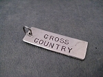 CROSS COUNTRY 1 Pendant Rectangle - Hand Hammered Nickel Silver Pendant with Gunmetal Jump Ring