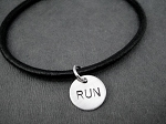 RUN BRACELET Sterling Silver Charm on Leather with Sterling Silver Plated Clasp - Sterling Silver Charms