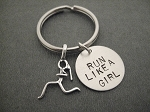 RUN LIKE A GIRL with Sterling Silver Runner Girl Charm Key Chain / Bag Tag - Sterling Silver Runner Girl Charm with 3/4 inch Round Nickel Silver Pendant - Choose 4 inch Ball Chain or Round Key Ring
