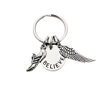 RUN BELIEVE FLY Key Chain / Bag Tag - Pewter Running Shoe Charm with 3/4 inch Round Nickel Silver Pendant and Pewter LARGE Wing - Choose 4 inch Ball Chain or Round Key Ring