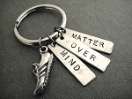 MIND OVER MATTER Key Chain / Bag Tag - Pewter Running Shoe and Hand Hammered Nickel Silver Pendants - Choose 4 inch Ball Chain or Round Key Ring