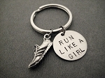 RUN LIKE A GIRL with Pewter Running Shoe Charm Key Chain / Bag Tag - Pewter Running Shoe Charm with 3/4 inch Round Nickel Silver Pendant - Choose 4 inch Ball Chain or Round Key Ring