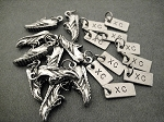 10 Pack Set - 10 Sets of RUNNING SHOE XC Charm Set - 1 Pewter Running Shoe Charm Plus 1 XC Charm in Each Set - Set in Organza Bag