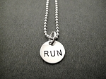 STERLING SILVER RUN YOUR DISTANCE - RUN, 5K, 10K, 13.1 or 26.2 - Sterling Silver Charms on Sterling Silver or Leather and Sterling Chain