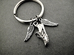I RUN WITH WINGS ON THE SOLES OF MY SHOES Key Chain / Bag Tag - 2 Pewter 1/2 inch Wings with 3/4 inch Pewter Running Shoe Charm - Choose 4 inch Ball Chain or Round Key Ring