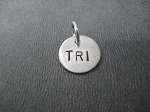 Sterling Silver ROUND 7/16 inch CHARM - Choose TRI, 70.3 or 140.6