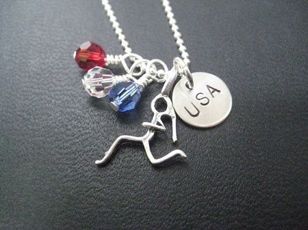 Sterling Silver Running In The Usa Necklace On Sterling