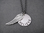 FLY BELIEVE SOAR Necklace - Nickel pendant and pewter charm priced with Gunmetal Chain