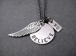 BELIEVE I CAN FLY XC Round Pendant Necklace - Pewter Wing and Nickel pendants priced with Gunmetal chain