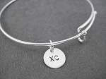 XC Expandable Bangle Bracelet - Sterling Silver Charm on Adjustable Expandable Silver Plated Bangle Bracelet