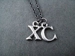 XC Pewter Initial Necklace - Pewter pendants priced with Gunmetal Chain