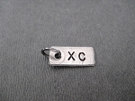 Nickel Silver RECTANGLE 1/4 x 1/2 inch hand hammered XC CHARM