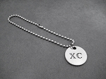 XC Round Pendant Bracelet on Stainless Steel Ball Chain or Leather with Sterling Silver Plated Clasp -