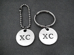 XC Round Pendant Key Chain / Bag Tag - Choose 4 inch Ball Chain or Round Key Ring - Available only at The Run Home - Cross Country Key Chain