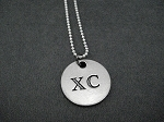 Pewter Round XC Pendant on Sterling Silver Chain - Pewter pendant on Sterling Silver or Leather and Sterling Chain