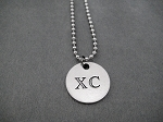XC Round Pewter Pendant on Stainless Steel Ball Chain