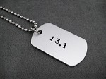 DISTANCE Dog Tag / Bag Tag / Key Chain - Choose 5K, 10K, 13.1 or 26.2 - Hand Stamped Aluminum Dog Tag on Stainless Steel Ball Chain