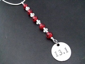 13.1 Icicle Ornament - Round Pewter 13.1 Pendant Dangling from a Hand Beaded Icicle Ornament - Choose your Color