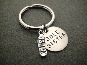 SOLE SISTER with Sterling Silver 13.1 Half Marathon or 26.2 Marathon Shoe Print Charm Key Chain / Bag Tag - Sterling Silver Charm with 3/4 inch Round Nickel Silver Pendant - Choose 4 inch Ball Chain or Round Key Ring