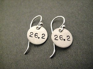 STERLING SILVER RUN YOUR DISTANCE EARRINGS - Choose 26.2, 13.1, 10K, 5K or RUN - Sterling Silver pendants on a 12mm French Ear Wire with a 2mm ball