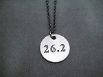 DISTANCE Round Pewter Pendant priced with Gunmetal Chain Choose 5K, 10K, 13.1 or 26.2