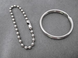 ONE (1) Round Key Ring or ONE (1) 4 inch Stainless Steel Ball Chain Key Ring / Bag Tag