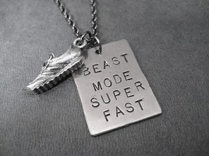 BEAST MODE SUPER FAST with RUNNING SHOE NECKLACE - 3/4 x 1 inch Nickel Silver pendant plus 3/4 inch Pewter Running Shoe Charm priced with Gunmetal Chain