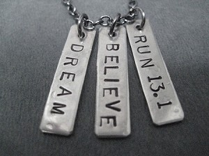 DREAM BELIEVE RUN YOUR RACE - Choose 5K, 10K, 13.1, 26.2 - Nickel pendants priced Gunmetal chain