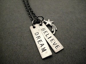 DREAM BELIEVE Necklace - Choose DREAM BELIEVE ACHIEVE, REACH FOR THE STARS, INSPIRE or YEAR - Nickel pendants (star is pewter) priced with Gunmetal chain