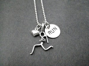 GIRLS LOVE TO RUN with HEART Sterling Silver Necklace - Choose your race distance - Either RUN, 5K, 10K, 13.1 or 26.2 - Sterling silver pendants with Sterling or Leather and Sterling Chain