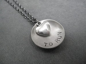 LOVE (HEART) TO RUN Necklace - Nickel Silver Pendant and Pewter Heart priced with Gunmetal chain