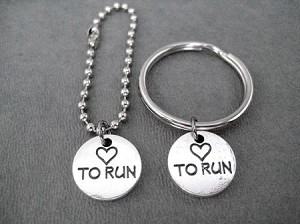 HEART TO RUN Pewter Pebble Double Sided Charm Key Chain / Bag Tag - Choose 4 inch Ball Chain or Round Key Ring