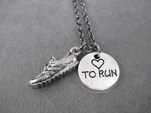 RUNNING SHOE HEART TO RUN Pewter Pendant Necklace - Pewter pendant priced with Gunmetal chain