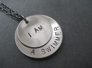 I AM A SWIMMER, I AM STRONG, I AM A RUNNER ETC. Necklace - Choose your WORD OR PHRASE - Nickel Silver pendants priced with Gunmetal chain