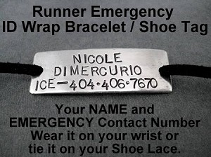 EMERGENCY ID CONTACT Wrap Bracelet / Shoe Lace Plate - Name plus I.C.E. Phone Number - Nickel Silver Pendant on 3 feet of Micro Fiber Suede - Choose Your Color!