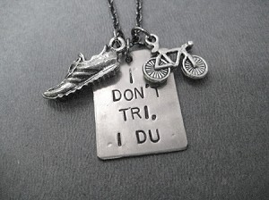 I DON'T TRI I DU Necklace with Pewter Running Shoe and Pewter Bike - 3/4 x 1 inch Nickel Silver pendant with priced Gunmetal Chain