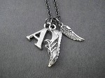I RUN. I FLY. INITIAL RUNNING Necklace - Choose Large or Small Wing - Pewter Charms priced with Gunmetal Chain