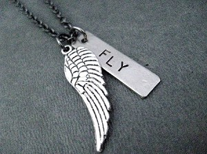 Spread Your Wings and FLY! Necklace - Pewter LARGE or SMALL Wing and Nickel pendant priced with Gunmetal chain