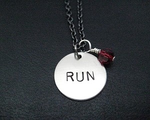 RUN with RACE MONTH Crystal - Choose your Race Month - Sterling Silver wrapped Swaroski Crystal and Round Nickel Pendant priced with 18 inch gunmetal chain
