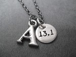 RUN or DISTANCE INITIAL Necklace with Pewter Initial and Sterling Silver Round RUN or DISTANCE Charm priced with Gunmetal Chain