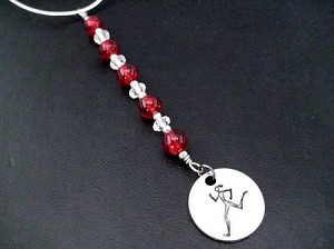 RUNNER GIRL Icicle Ornament - Round Pewter Runner Girl Pendant Dangling from a Hand Beaded Icicle Ornament - Choose your Color