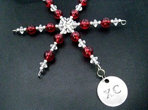 XC Ornament - Pewter XC Charm Dangling from a Hand Beaded Snowflake Ornament - Choose your Color